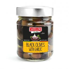 Black Pitted Olives with Garlic